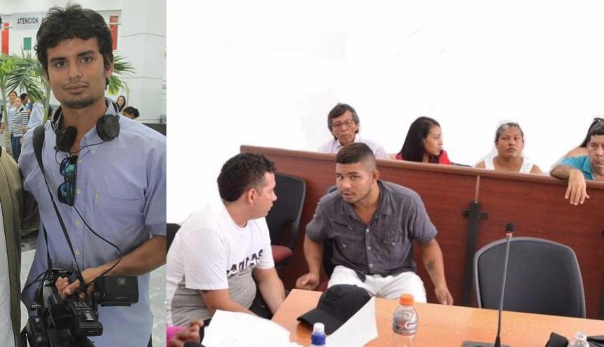 El patrullero de la Policía Alexander Rivera Medina y Richard Guevara Estrada en audiencias de legalización de captura en los juzgados de Barranquilla.