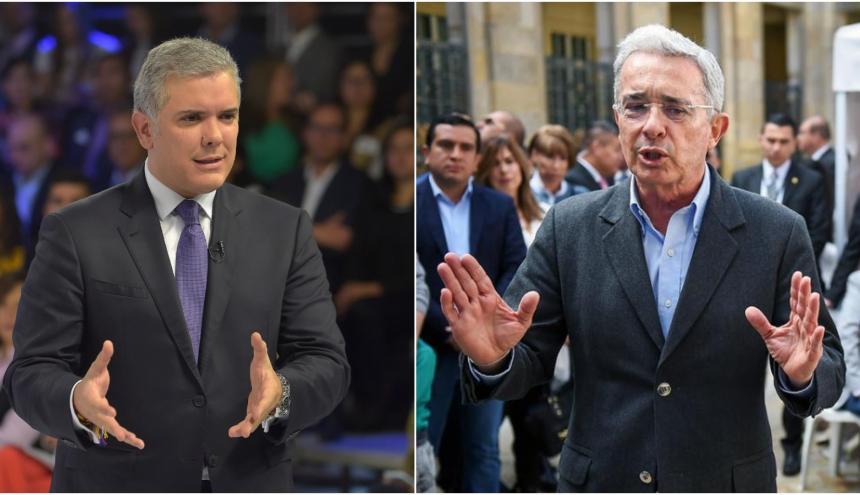 Iván Duque, presidente de la República y Álvaro Uribe, senador y líder del CD.
