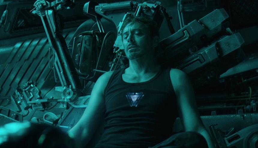 Iron Man (Robert Downey) durante escena de la nueva película Avengers.