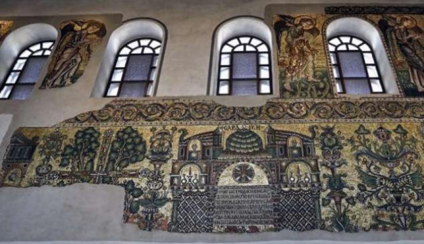 Mosaicos en la Basílica de la Natividad en Belén.