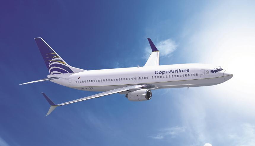 Uno de los aviones de la flota de Copa Airlines.
