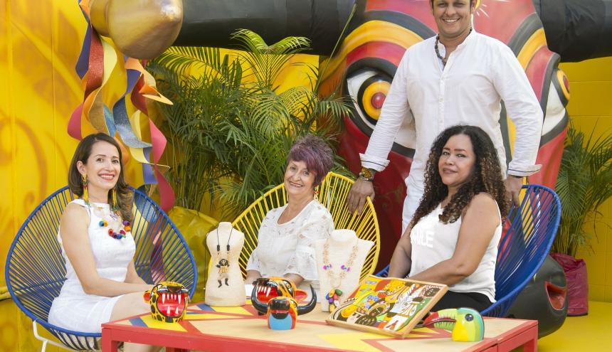 Eunice Pertúz, Gina Grass, Dora Sánchez y Rubiel Badillo, artistas del Carnaval de Barranquilla.
