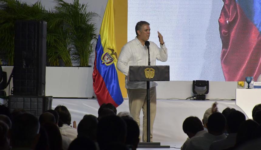 Iván Duque, presidente de Colombia, durante su visita a la Universidad Sergio Arboleda sede B arranquilla.