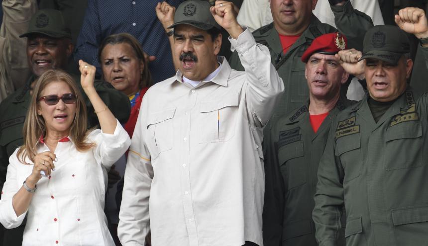 Nicolás Maduro, presidente chavista en desfile militar.