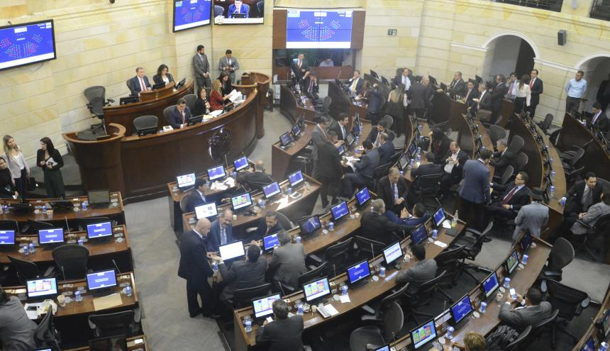 Sesión plenaria del Congreso de la República.