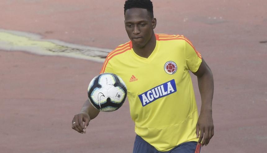 Yerry Mina entrenando con la Selección Colombia.