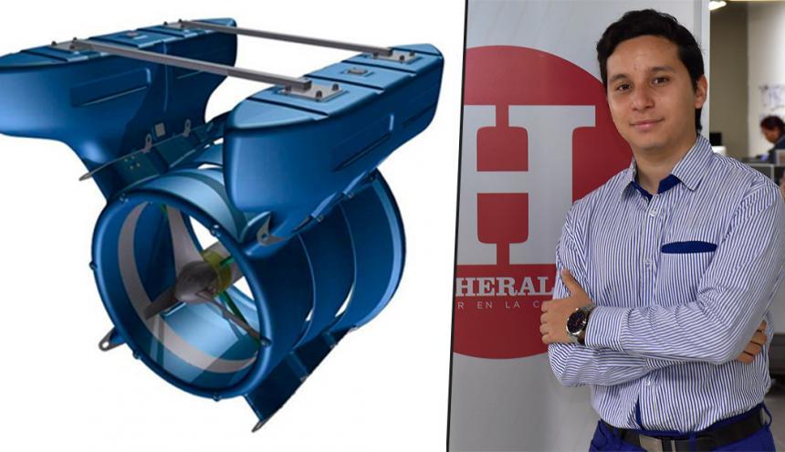 El estudiante Alberto Moros presenta su Sistema Híbrido de Energía Renovable.