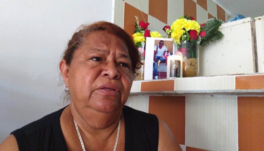 Ruby Rodríguez, madre de Jair Roberto Cataño Rodríguez.