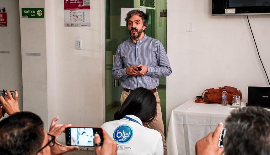 El director del Dane, Daniel Oviedo, durante la presentación de los resultados del censo ayer en Barranquilla.