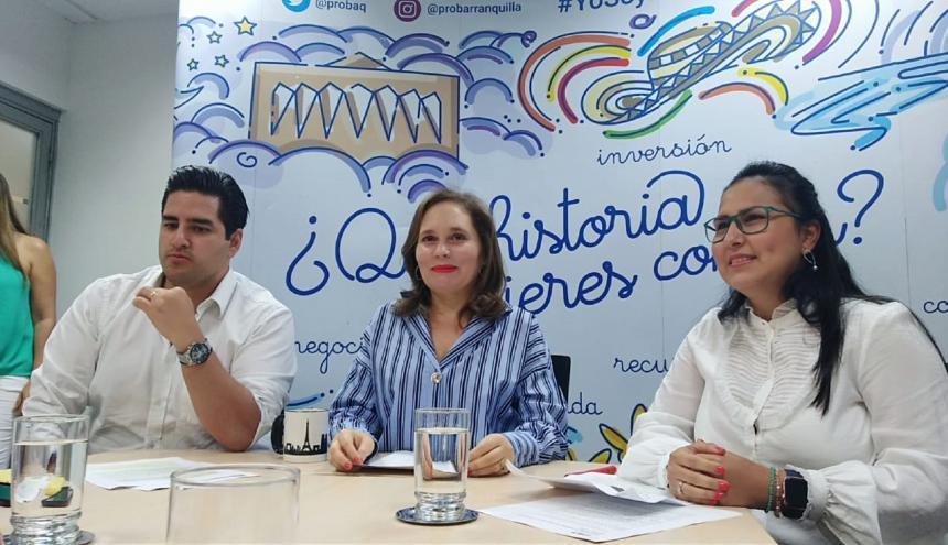 Camilo Umaña, Ana María Badel y Diana Cantillo en la rueda de prensa en las oficinas de ProBarranquilla.