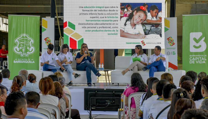 Aspecto de la rendición de cuentas que se llevó a cabo en la Institución Educativa María Cano.