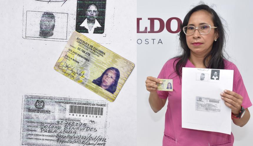 La cédula actual de la médica Solano y el comprobante que entregó 'Pabla' en 2009.