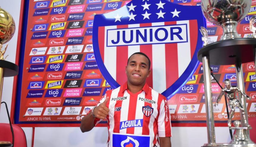 Yohandry Orozco durante su presentación como nuevo jugador de Junior.