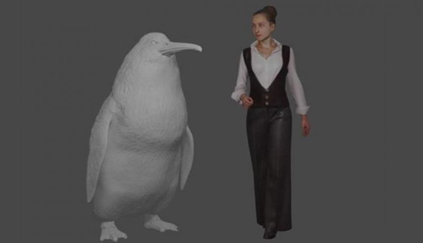 Recreación en 3D Del Pingüino Gigante hallado en Nueva Zelanda.