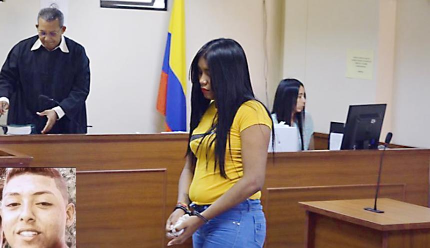 Osmeidy Navarro Anaya durante la audiencia de ayer cumplida en Valledupar. En el recuadro Camilo Enrique Polo.