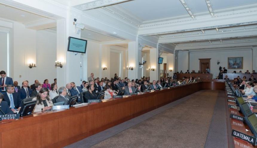 Aspecto del Consejo de Seguridad Permanente de la OEA ayer en Washington.