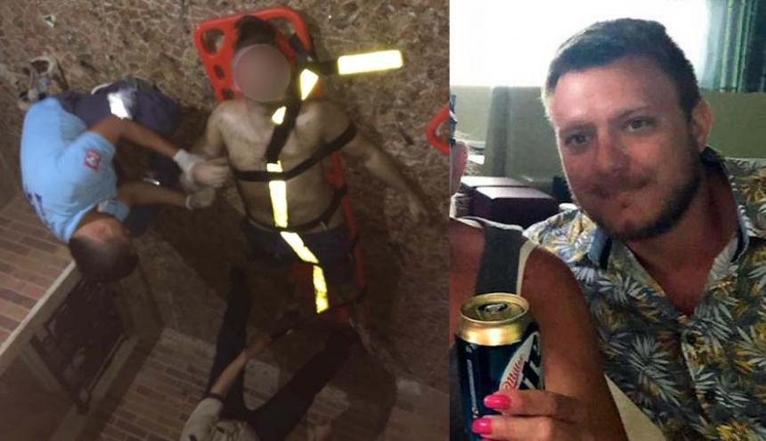 John Winkel Zachary de 31 años cayó desde el séptimo piso de un hotel.