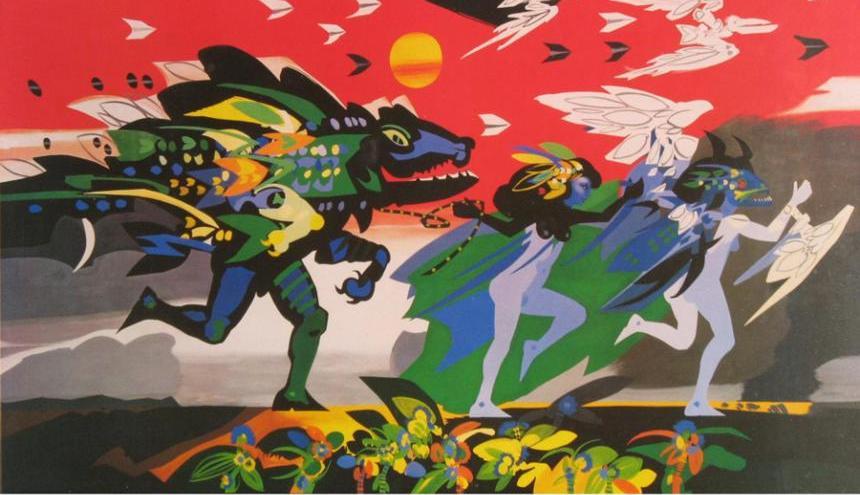 Arte del telón de boca de Alejandro Obregón.