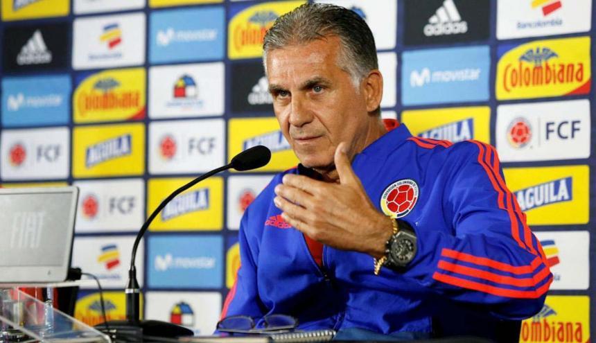 El DT de la Selección Colombia, Carlos Queiroz, durante la rueda de prensa.