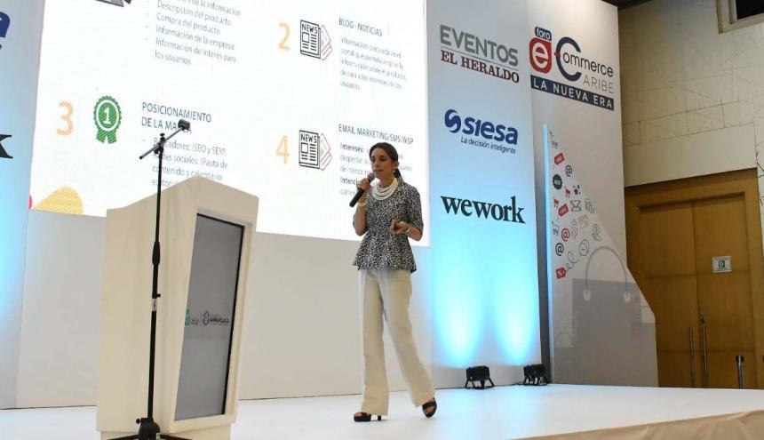 María Fernanda Quiñónez, presidenta de CCCE en su intervención en el Hotel Dann Carlton, sede del foro eCommerce Caribe.