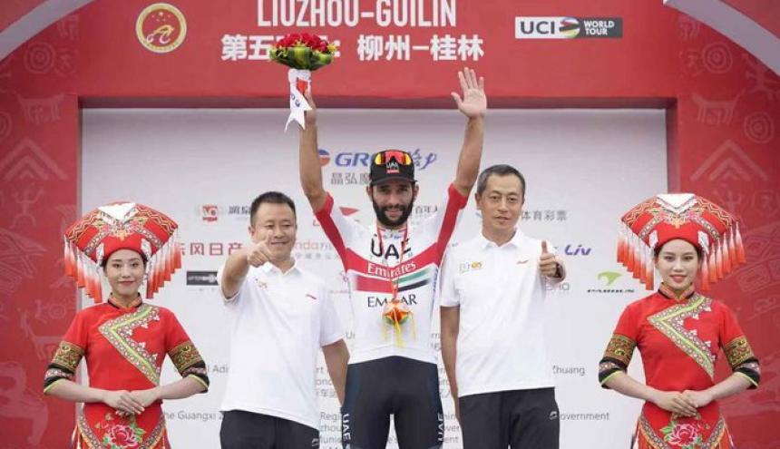 El ciclista colombiano Fernando Gaviria celebrando en China.