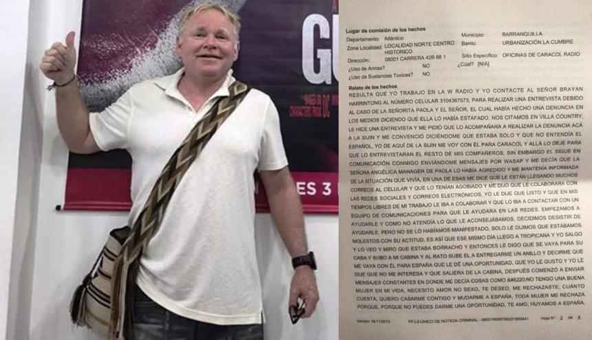 Brian Harrington, extranjero denunciado. A la der.  facsímil de la denuncia.
