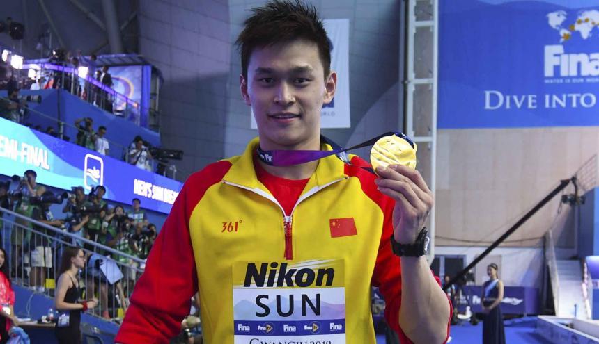 El nadador chino Sun Yang, de 27 años, fue tres veces campeón olímpico en Londres-2012 y en Río-2016.