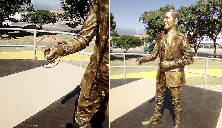 En el recuadro, sin dedo por efectos de los vándalos. A la derecha, la estatua al cantante Peter Manjarrés en la glorieta El País Vallenato,