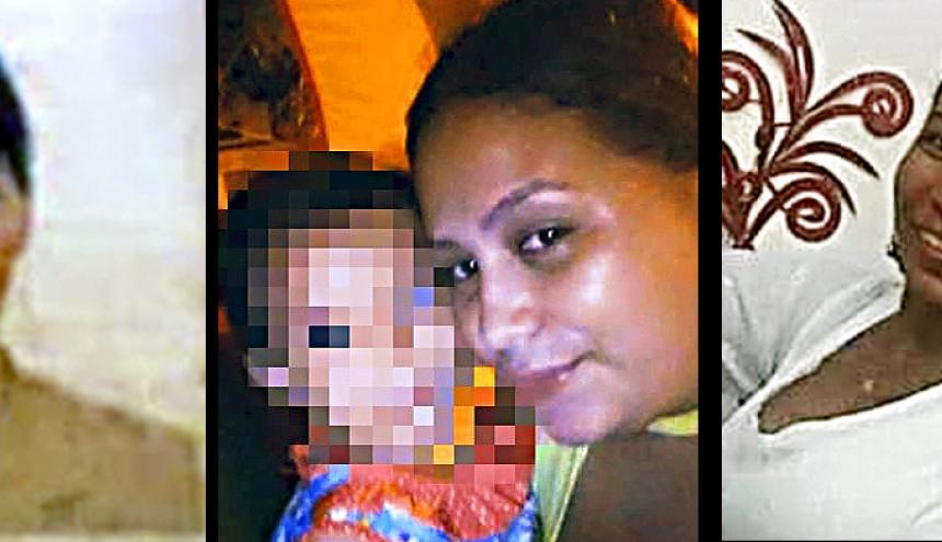 Esmely Arias, Johana Martínez y su hija Belén y Yarime Castillejo, fallecidas.