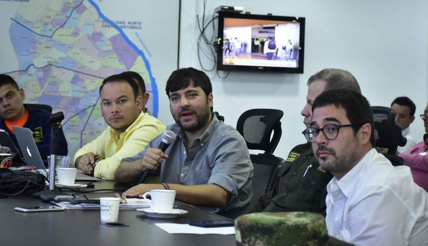 Alcalde Jaime Pumarejo durante el consejo de seguridad sobre el Carnaval.