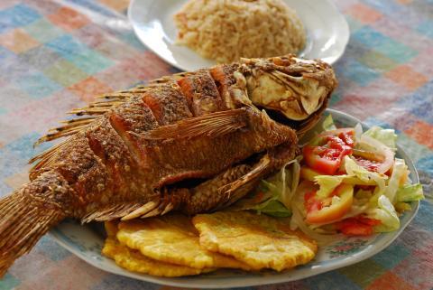 La mojarra frita con patacón, arroz de coco y ensalada es uno de los platos favoritos de la gastronomía del Caribe colombiano.