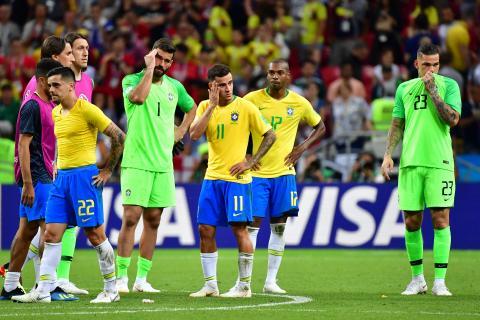 Los jugadores de Brasil muestran su tristeza por la eliminación del  Mundial. AFP 9ed3d99bfeb6e