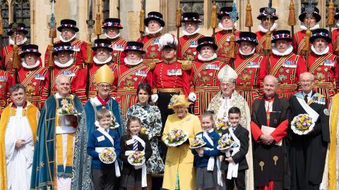 La soberana estuvo acompañada de su familia en un servicio religioso en la capilla de San Jorge.