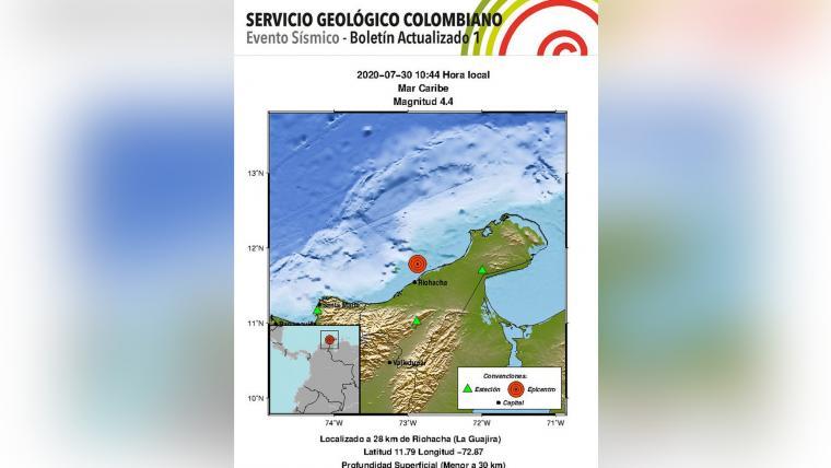 Se registra sismo de magnitud 4,4 en La Guajira