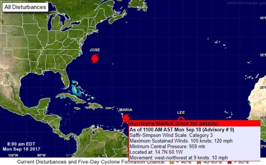 Huracán María avanza hacia las Islas Vírgenes y Puerto Rico
