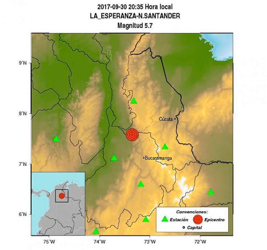 """Fuerte sismo de magnitud 5.7 se sintió en Santander"""""""