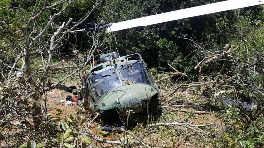Accidente de helicóptero militar en Colombia
