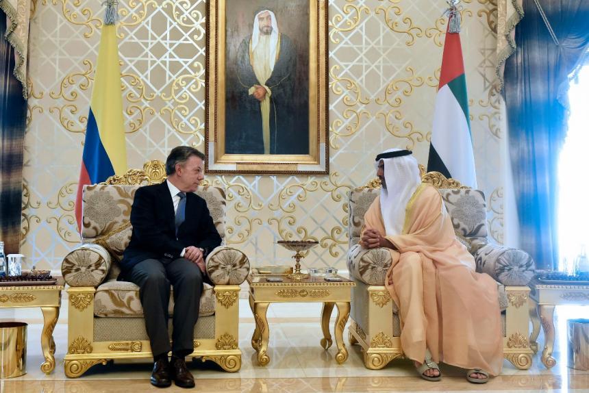 Presidente Santos busca inversiones en los Emiratos Árabes
