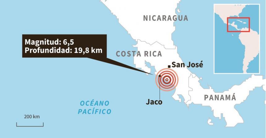 Sismo de 6.8 en la escala de Richter sacudió Costa Rica
