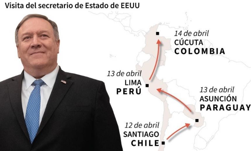 Pompeo visitará varios países sudamericanos y la frontera entre Colombia y Venezuela