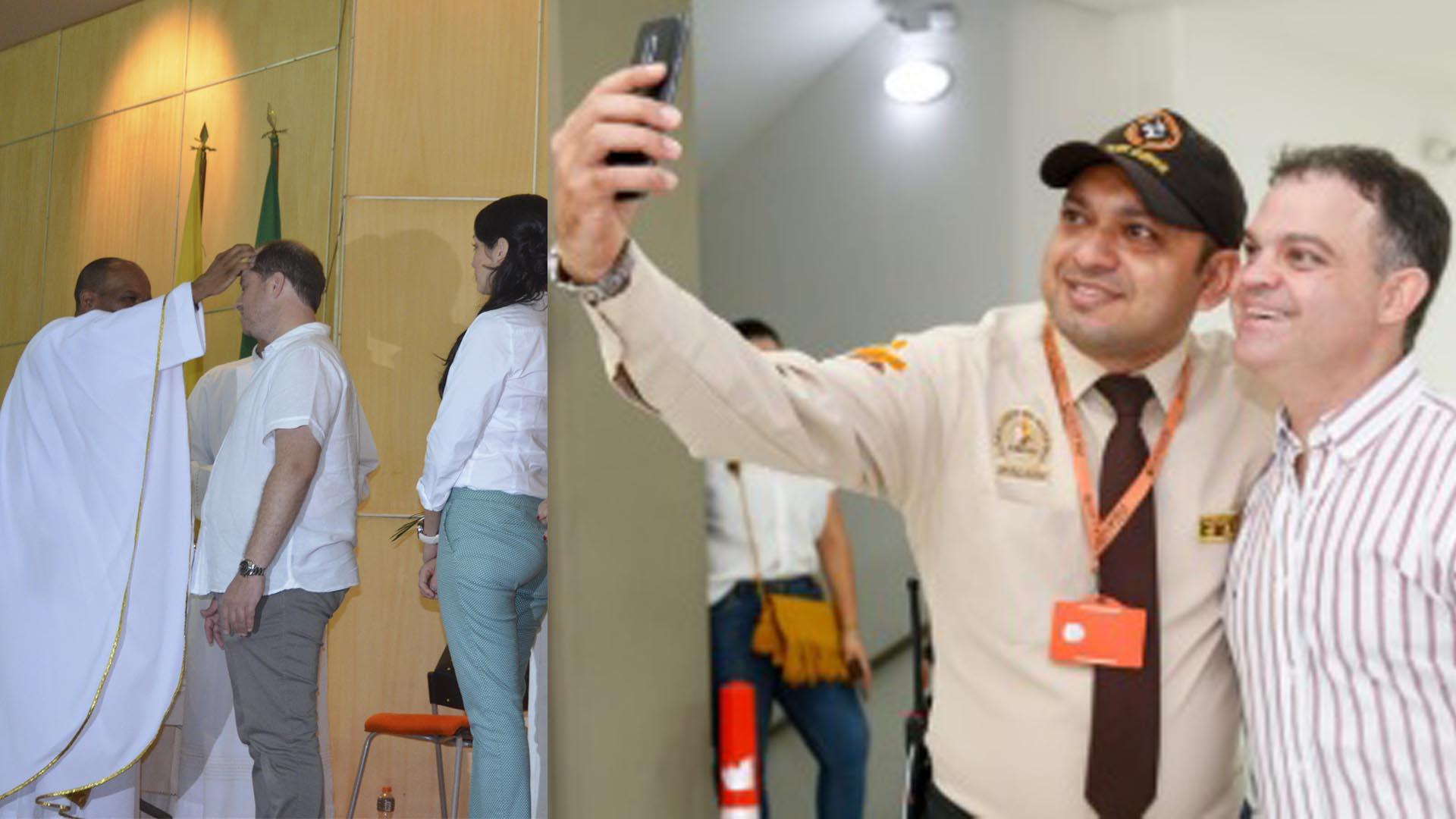 El gobernador de Sucre, Héctor Espinosa, y miembros de su gabinete durante una eucaristía / El alcalde Gómez atento a la selfie.