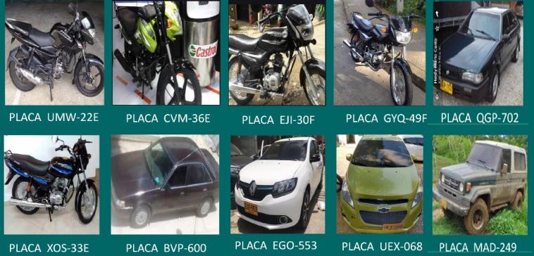 Estos son algunos de los vehículos reportados como hurtados ante la Policía de Cartagena.