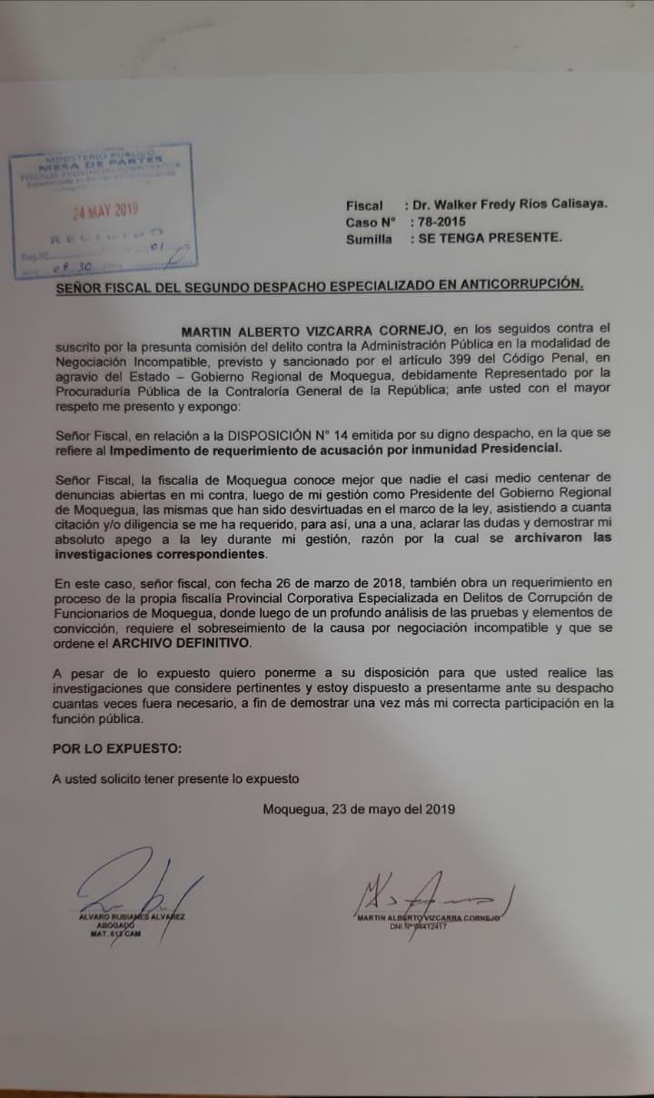 Documento enviado al fiscal Walker Ríos.