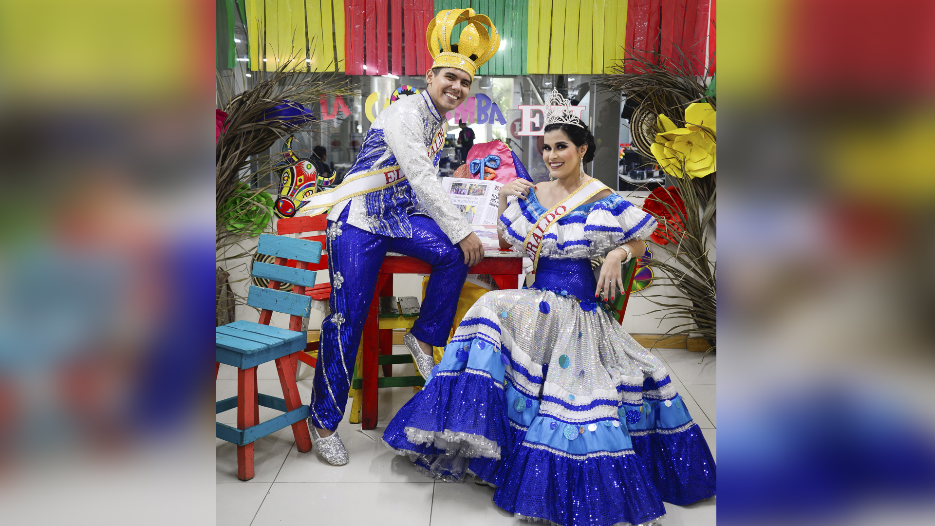 Wilmer Jiménez, Rey Momo, y Estefanía Fajardo, Reina del Carnaval de EL HERALDO.