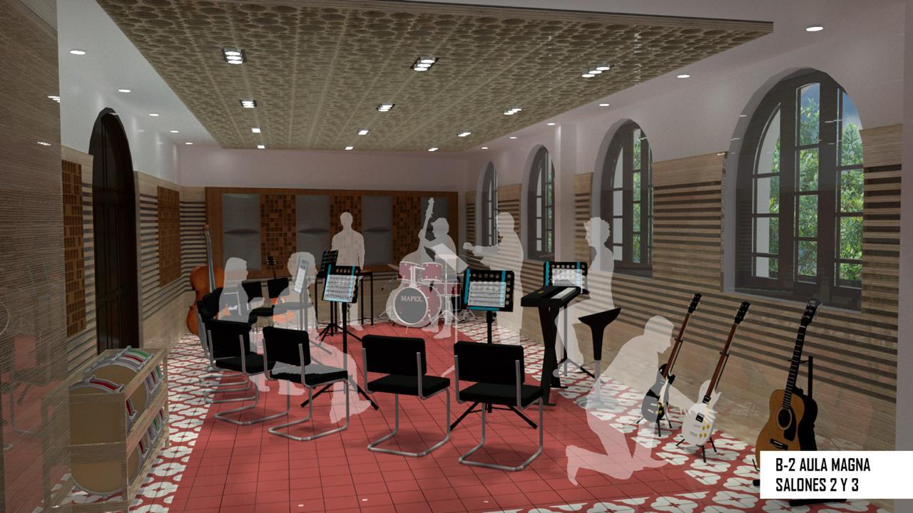 Uno de los salones donde se dictará el programa de música.