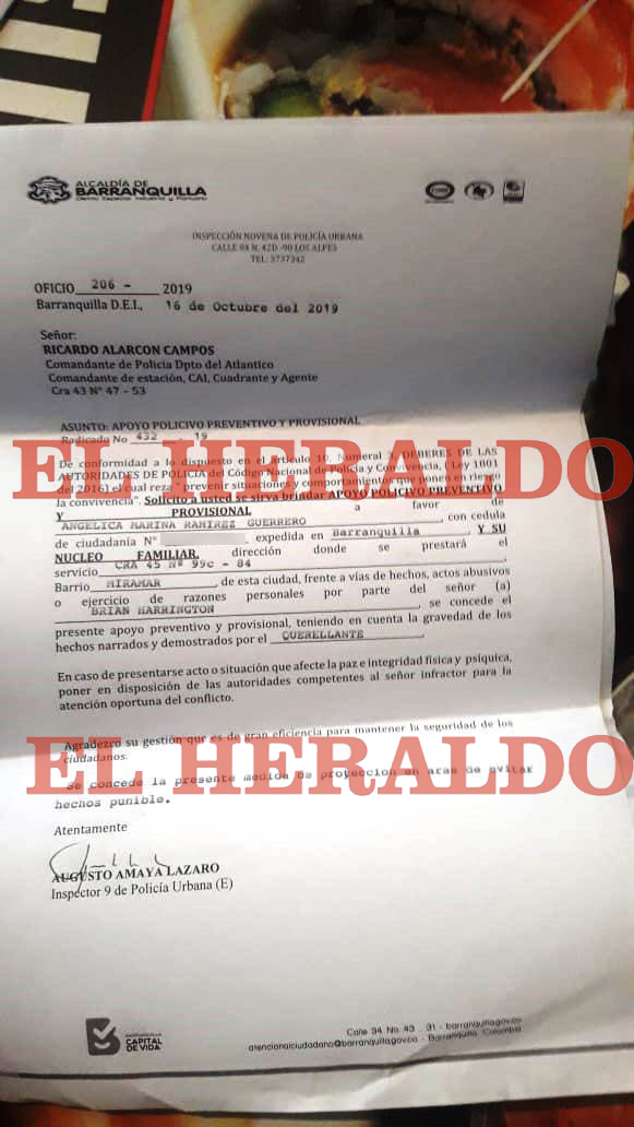 Denuncia interpuesta por Angélica Ramírez.