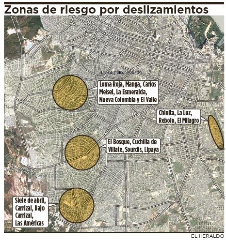 Zonas de riesgo por deslizamientos
